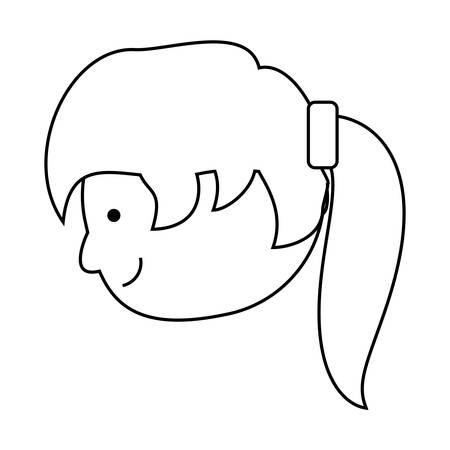 Karikaturmädchen mit Ponyheck Frisur über weißer Hintergrundvektorillustration Standard-Bild - 93045675