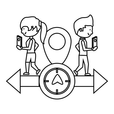 gps design with man and woman using a cellphone and arrow with compass icon over white background vector illustration