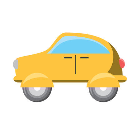 Yellow car icon over white background vector illustration