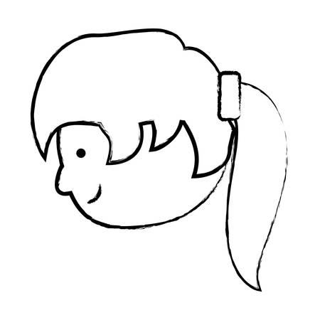Skizze des Karikaturmädchens mit Ponyendstück Frisur über weißer Hintergrundvektorillustration Standard-Bild - 93047420
