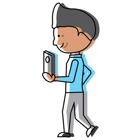 Cartoon man walking and holding a cellphone icon over white background colorful design vector illustration