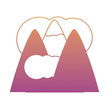 Alps and clouds icon over white background colorful design vector illustration