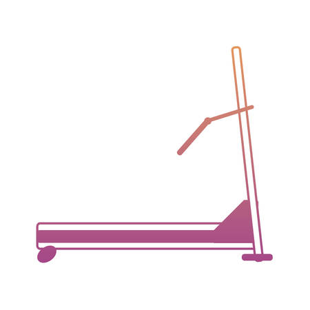 Gym treadmill machine icon over white background colorful design vector illustration