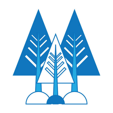 Trees and bushes icon over white background colorful design vector illustration