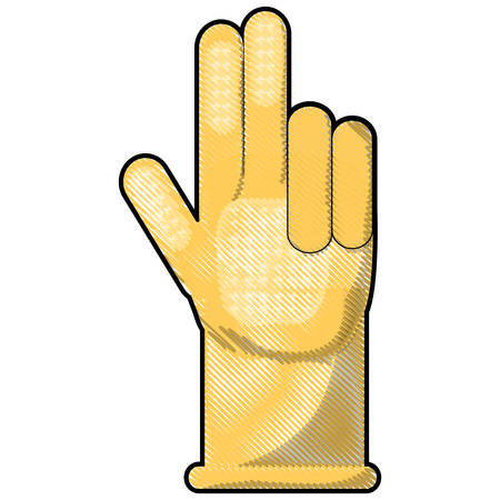 yellow cleaning glove icon over white background vector illustration