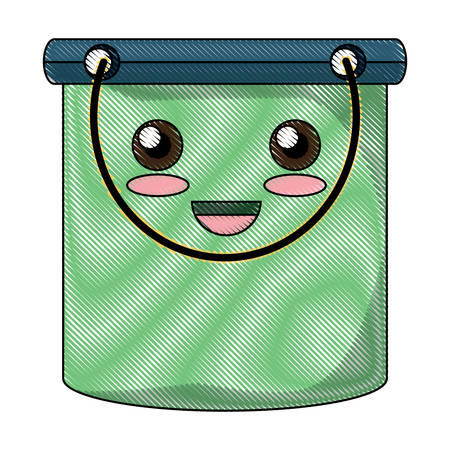 happy cleaning bucket icon over white background colorful design vector illustration Illustration