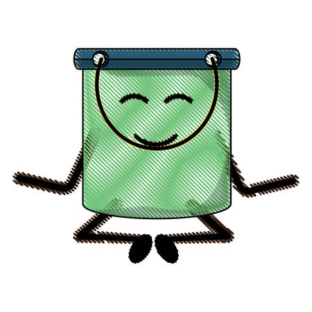 A relaxed cleaning bucket icon over white background colorful design vector illustration Illustration