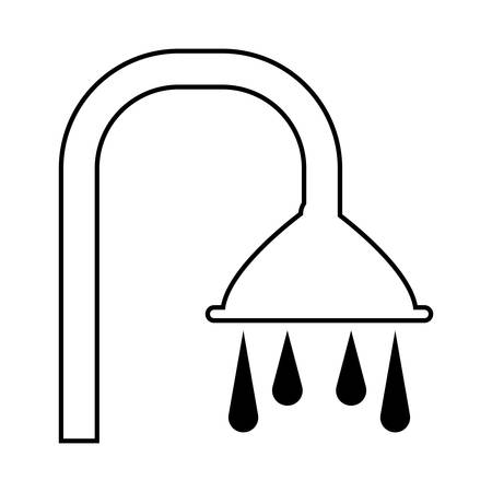 shower faucet with water drops over white background vector illustration