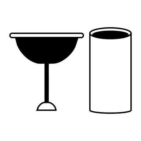wine glass and glass icon over white background vector illustration