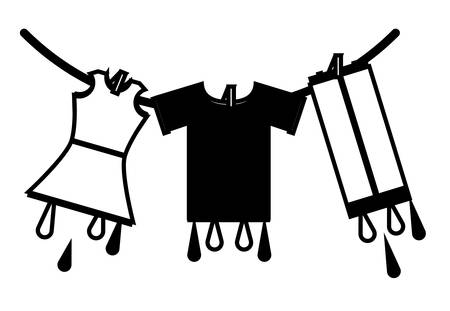 washed clothes hanging on a rope icon over white background vector illustration