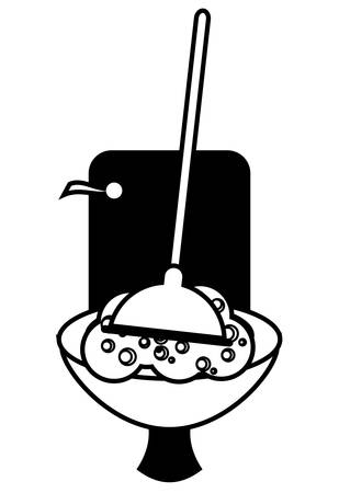 toilet and plunger icon over white background vector illustration