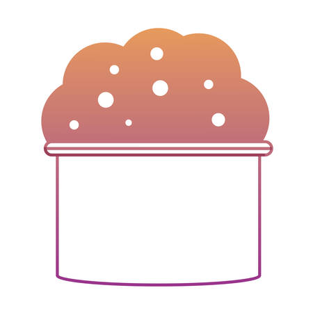 Bucket with soap suds and water icon over white background colorful design vector illustration Illustration