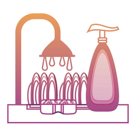 Dishwasher with Dish washing soap bottle and dishes icon over white background illustration.