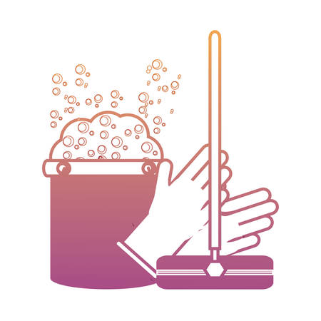 A mop and cleaning gloves with bucket with soap suds and water icon over white background colorful design vector illustration