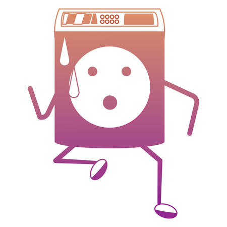 Cute washing machine running icon over white background. Colorful design illustration.
