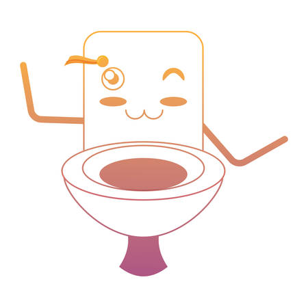 Kawaii happy toilet icon over white background colorful design vector illustration