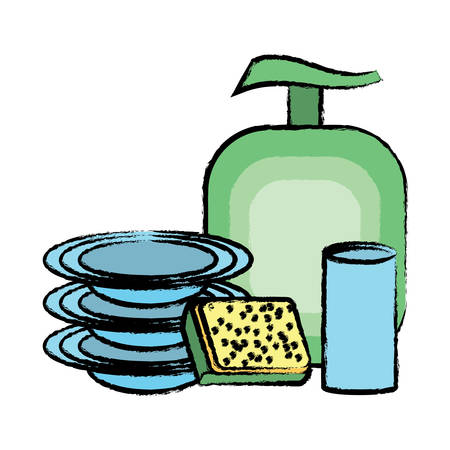 Dish washing soap with dishes and glass icon over white background colorful design  vector illustration