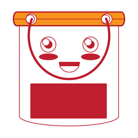 Kawaii happy cleaning bucket icon over white background colorful design vector illustration