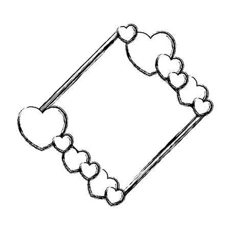 Hearts and love frame vector illustration graphic design