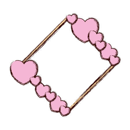 Hearts and love frame vector illustration graphic design.