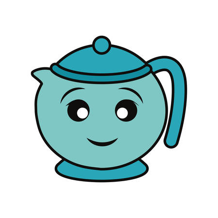 Porcelain teapot isolated smiling cartoon Illusztráció