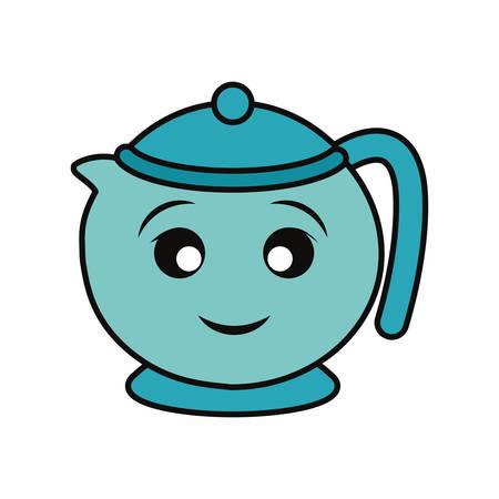 Porcelain teapot isolated smiling cartoon Illustration