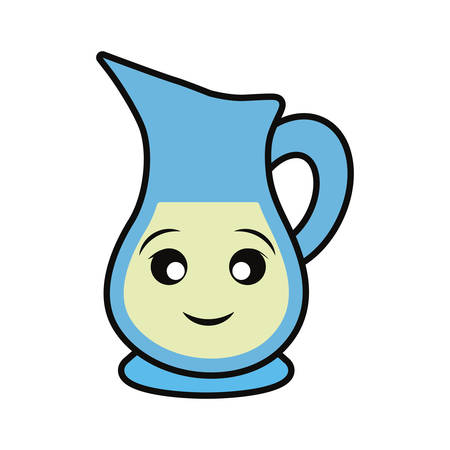 Glass jar with drink smiling cartoon