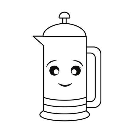 Kettle kitchen utensil smiling cartoon Illustration