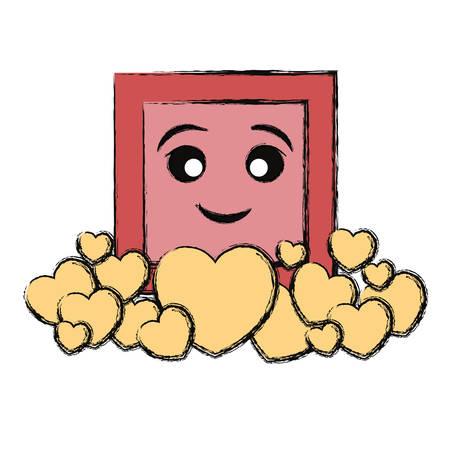 kawaii frame with hearts