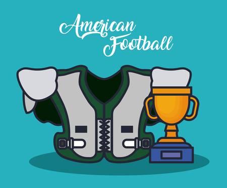 american football equipment sport concept vector illustration graphic design Illustration
