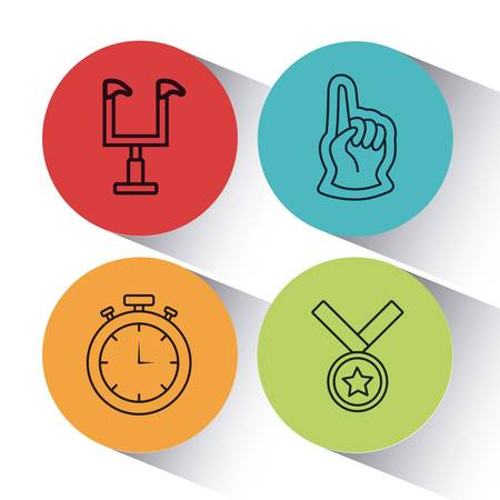 Set of colorful american football icons in a round with shadow illustration. 일러스트