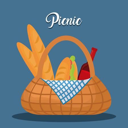 Picnic basket with snack design on blue background.