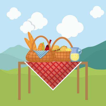 picnic basket with snack design