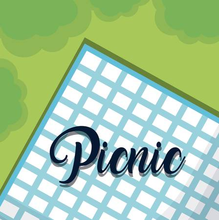 A blue tablecloth for family summer picnic vector illustration graphic design