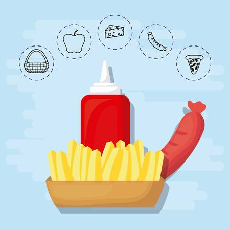 French fries and sausage for family summer picnic vector illustration graphic design.