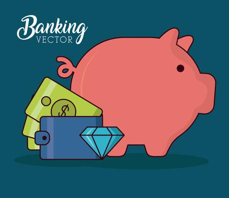 piggy  bank with wallet and diamond over blue background colorful design vector illustration Stock Illustratie