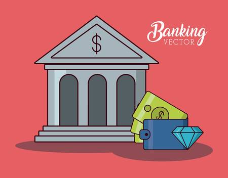 bank sign with wallet and diamond icon over red background colorful design vector illustration