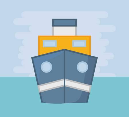 cargo ship on the sea over blue background colorful design vector illustration Illustration