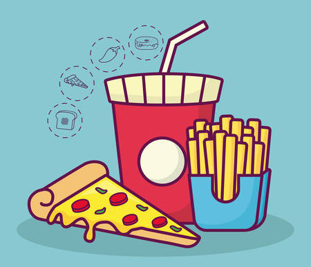 pizza and french fries with fast food related icons around over blue background colorful design vector illustration