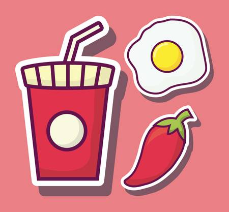 fast food related icons over pink background colorful design vector illustration
