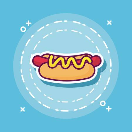 hot dog icon over blue background colorful design vector illustration Illusztráció