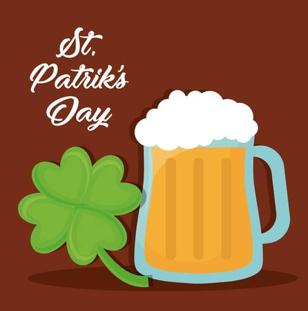 Saint Patricks day design with beer glass over brown background colorful design vector illustration