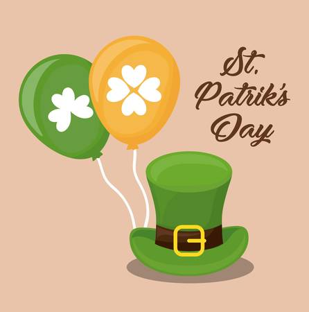 saint patricks day design with leprechaun top hat and balloons over orange background colorful design vector illustration Illustration