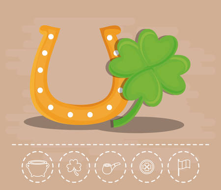 icon and st Patrick's day related icons over brown background colorful design vector illustration.