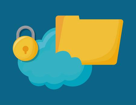 Cyber security design with cloud and folder icon over blue background colorful design vector illustration Illustration