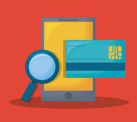 Cyber security design with smartphone and credit card over red background colorful design vector illustration Illustration