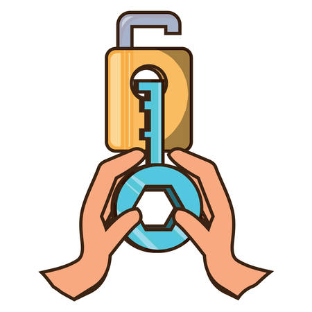padlock and hands holding a key icon over white background vector illustration
