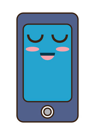 kawaii icône smartphone heureux sur fond blanc design coloré illustration vectorielle