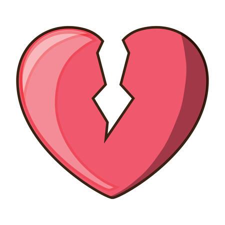 흰색 배경 위에 깨진 된 심장 아이콘 화려한 디자인 벡터 일러스트 레이 션