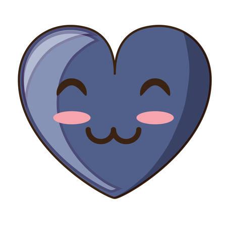 kawaii happy heart icon over white background vector illustration Illustration